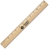 "Business Source Ruler with Brass Blade - 12"" Length - 1/16 Graduations - Imperial Measuring System - Wood - 1 Each - Brown"