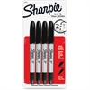 Sharpie Twin Tip Permanent Marker - Fine, Ultra Fine Point Type - Black - 4 / Pack