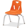 "Berries Stacking Chair - Steel Frame - Four-legged Base - Orange - Polypropylene - 15.5"" Width x 16.5"" Depth x 17.5"" Height"
