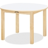 "Jonti-Craft Multi-purpose White Round Table - Round Top - Four Leg Base - 4 Legs - 30"" Table Top Length x 30"" Table Top Width x 30"" Table Top Diameter - 20"" Height - Assembly Required - Laminated, Map"