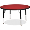 "Berries Toddler Height Color Top Round Table - Round Top - Four Leg Base - 4 Legs - 1.13"" Table Top Thickness x 36"" Table Top Diameter - 15"" Height - Assembly Required - Powder Coated"