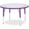 "Berries Elementary Height Color Edge Round Table - Round Top - Four Leg Base - 4 Legs - 1.13"" Table Top Thickness x 36"" Table Top Diameter - Assembly Required - Freckled Gray Laminate, Thermofused Lam"
