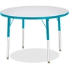 "Berries Adult Height Color Edge Round Table - Round Top - Four Leg Base - 4 Legs - 1.13"" Table Top Thickness x 36"" Table Top Diameter - 31"" Height - Assembly Required - Powder Coated"