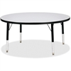 "Berries Elementary Height Gray Top Color Edge Round Table - Round Top - Four Leg Base - 4 Legs - 1.13"" Table Top Thickness x 42"" Table Top Diameter - Assembly Required - Powder Coated"
