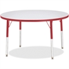 "Berries Elem. Ht Gray Top Color Edge Rnd Table - Round Top - Four Leg Base - 4 Legs - 1.13"" Table Top Thickness x 42"" Table Top Diameter - 24"" Height - Assembly Required - Powder Coated"
