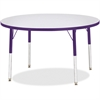 "Berries Elementary Height Color Edge Round Table - Round Top - Four Leg Base - 4 Legs - 1.13"" Table Top Thickness x 42"" Table Top Diameter - Assembly Required - Freckled Gray Laminate, Thermofused Lam"