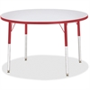 "Berries Adult Gray Laminate Round Table - Round Top - Four Leg Base - 4 Legs - 1.13"" Table Top Thickness x 42"" Table Top Diameter - 15"" Height - Assembly Required - Powder Coated"