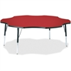 "Berries Elementary Black Edge Six-leaf Table - Four Leg Base - 4 Legs - 1.13"" Table Top Thickness x 60"" Table Top Diameter - 24"" Height - Assembly Required - Powder Coated"