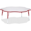 "Berries Elementary Height Prism Six-Leaf Table - Four Leg Base - 4 Legs - 1.13"" Table Top Thickness x 60"" Table Top Diameter - 24"" Height - Assembly Required - Powder Coated"