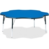 "Berries Adult Black Edge Six-leaf Table - Four Leg Base - 4 Legs - 1.13"" Table Top Thickness x 60"" Table Top Diameter - 31"" Height - Assembly Required - Powder Coated"