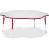 """Berries Prism Six-Leaf Student Table - Four Leg Base - 4 Legs - 1.13"""" Table Top Thickness x 60"""" Table Top Diameter - 31"""" Height - Assembly Required - Powder Coated"""