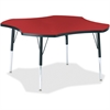 "Berries Elementary Black Edge Four-leaf Table - Four Leg Base - 4 Legs - 1.13"" Table Top Thickness x 48"" Table Top Diameter - 24"" Height - Assembly Required - Powder Coated"
