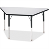 "Berries Adult-sz Gray Laminate Trapezoid Table - Trapezoid Top - Four Leg Base - 4 Legs - 48"" Table Top Length x 24"" Table Top Width x 1.13"" Table Top Thickness - 31"" Height - Assembly Required - Powd"