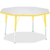 "Berries Gray Top Octagon Activity Table - Octagonal Top - Four Leg Base - 4 Legs - 1.13"" Table Top Thickness x 48"" Table Top Diameter - 15"" Height - Assembly Required - Powder Coated"
