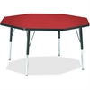 "Berries Elementary Height Color Top Octagon Table - Octagonal Top - Four Leg Base - 4 Legs - 1.13"" Table Top Thickness x 48"" Table Top Diameter - 24"" Height - Assembly Required - Powder Coated"