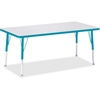 "Berries Elementary Height Color Edge Rectangle Table - Rectangle Top - Four Leg Base - 4 Legs - 60"" Table Top Length x 30"" Table Top Width x 1.13"" Table Top Thickness - 24"" Height - Assembly Required"