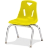 "Jonti-Craft Berries Plastic Chairs w/Chrome-Plated Legs - Polypropylene Yellow Seat - Steel Frame - Four-legged Base - Yellow - 16.5"" Width x 16.5"" Depth x 23.5"" Height"