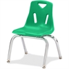"Jonti-Craft Berries Plastic Chairs w/Chrome-Plated Legs - Polypropylene Green Seat - Steel Frame - Four-legged Base - Green - 16.5"" Width x 14"" Depth x 21.5"" Height"