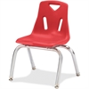 "Berries Stacking Chair - Steel Frame - Four-legged Base - Red - Polypropylene - 15.5"" Width x 16.5"" Depth x 17.5"" Height"