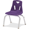 "Berries Stacking Chair - Steel Frame - Four-legged Base - Purple - Polypropylene - 15.5"" Width x 13.5"" Depth x 20"" Height"