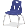 "Berries Stacking Chair - Polypropylene Blue Seat - Polypropylene Blue Back - Steel Frame - Four-legged Base - 15.5"" Width x 13.5"" Depth x 20"" Height"