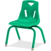 "Berries Stacking Chair - Steel Frame - Four-legged Base - Green - Polypropylene - 15.5"" Width x 16.5"" Depth x 23.5"" Height"