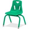 "Berries Stacking Chair - Steel Frame - Four-legged Base - Green - Polypropylene - 15.5"" Width x 16.5"" Depth x 23.5"" Height"