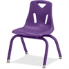 "Berries Stacking Chair - Steel Frame - Four-legged Base - Purple - Polypropylene - 15.5"" Width x 15.5"" Depth x 22"" Height"