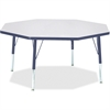 "Berries Toddler Height Color Edge Octagon Table - Octagonal Top - Four Leg Base - 4 Legs - 1.13"" Table Top Thickness x 48"" Table Top Diameter - 15"" Height - Assembly Required - Powder Coated"