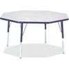 "Berries Elementary Height Color Edge Octagon Table - Octagonal Top - Four Leg Base - 4 Legs - 1.13"" Table Top Thickness x 48"" Table Top Diameter - 24"" Height - Assembly Required - Powder Coated"