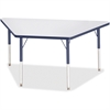 "Berries Adult-sz Gray Laminate Trapezoid Table - Trapezoid Top - Four Leg Base - 4 Legs - 60"" Table Top Length x 30"" Table Top Width x 1.13"" Table Top Thickness - 31"" Height - Assembly Required - Powd"
