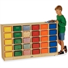 "Jonti-Craft 30 Cubbie-Trays Mobile Storage Unit - 30 Compartment(s) - 35.5"" Height x 57.5"" Width x 15"" Depth - Baltic - Rubber, Acrylic - 1Each"