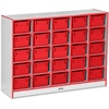 "Rainbow Accents Cubbie-Tray Mobile Storage - 25 Compartment(s) - 35.5"" Height x 48"" Width x 15"" Depth - Red - Rubber - 1Each"