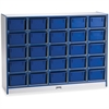 "Rainbow Accents Cubbie-Tray Mobile Storage - 25 Compartment(s) - 35.5"" Height x 48"" Width x 15"" Depth - Blue - Rubber, Wood - 1Each"