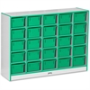 "Jonti-Craft Cubbie-Tray Mobile Storage - 25 Compartment(s) - 35.5"" Height x 48"" Width x 15"" Depth - Green - Rubber - 1Each"