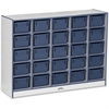 "Rainbow Accents Cubbie-Tray Mobile Storage - 25 Compartment(s) - 35.5"" Height x 48"" Width x 15"" Depth - Navy - Rubber - 1Each"