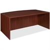 "Lorell Essentials Bowfront Desk Shell - 70.9"" x 41.4"" x 29.5"" - Finish: Laminate, Mahogany"