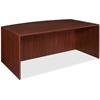 "Lorell Essentials Bowfront Desk Shell - 70.9"" x 41.4"" x 29.5"" - Finish: Laminate, Mahogany"
