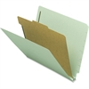 "Nature Saver End-tab Classification Folders - Letter - 8 1/2"" x 11"" Sheet Size - 2 Fastener(s) - 2"" Fastener Capacity for Folder - 1 Divider(s) - 25 pt. Folder Thickness - Gray/Green - Recycled - 10 /"