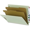 """Smead 100% Recycled End Tab Classification Folders - Letter - 8 1/2"""" x 11"""" Sheet Size - 2"""" Expansion - 4 Fastener(s) - 2 Divider(s) - Pressboard - Gray, Green - Recycled - 10 / Box"""