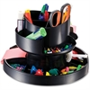 "OIC Deluxe Rotary Organizer - 16 Compartment(s) - 6.8"" Height x 10.3"" Width x 10.3"" Depth - Desktop - Recycled - Black - Plastic - 1Each"