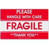 "Tatco Shipping Label - ""Fragile - Handle with Care"", ""Thank You"" - 3"" Width x 5"" Length - 500 / Roll - Rectangle - 3"" Core - Red - 500 / Roll"