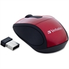 Verbatim Wireless Mini Travel Optical Mouse - Red - Radio Frequency - USB - 1600 dpi - Scroll Wheel