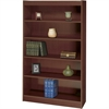 "Square-Edge Bookcase - 36"" x 12"" x 60"" - 5 x Shelf(ves) - 500 lb Load Capacity - Square Edge, Back Panel, Adjustable Shelf - Mahogany - Veneer - Particleboard, Wood, Veneer, Wood Veneer - Recycl"