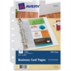 "Avery Mini Business Card Page - 8 x Card Capacity - 5.50"" x 8.50"" Sheet - Ring Binder - Rectangular - Clear - Polypropylene - 5 / Pack"