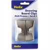 Helix Multipurpose Drawing Board Clip - 4 Pack - Silver - Metal
