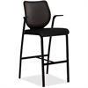 "Nucleus HN7 Cafe Height Stool - Black Seat - Four-legged Base - Black - 19"" Seat Width x 19"" Seat Depth - 25"" Width x 24.5"" Depth x 46.5"" Height"
