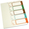 "SJ Paper Side Tab TOC Divider - 5 - Tab(s)Printed 1-5 - 8.50"" Divider Width x 11"" Divider Length - Letter - 2 Hole Punched - Ivory - Multicolor - 5 / Set"