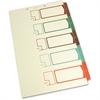 "SJ Paper Side Tab TOC Divider - 5 Printed Tab(s) - Digit - 8.50"" Divider Width x 14"" Divider Length - Legal - 2 Hole Punched - Ivory Divider - Multicolor Tab(s) - 5 / Set"