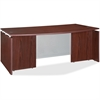 "Lorell Ascent Bowfront Desk Shell - 70.9"" x 41.4"" x 29.5"" - Finish: Laminate, Mahogany"